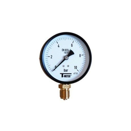 """T-METER nyomásmérő alsó csatlakozással 1/2"""" 0-10 bar átmérő 100 mm (fémházas)"""