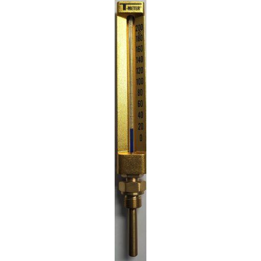 """T-METER hőmérő 0-200°C,egyenes, alsó csatl. 1/2"""", L=63 mm"""