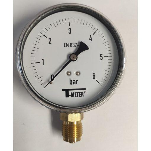 """T-METER nyomásmérő alsó csatlakozással 1/2"""" 0-6 bar átmérő 100 mm (műanyagházas)"""