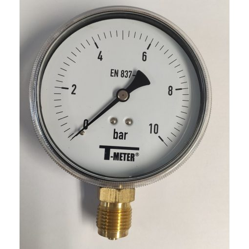"""T-METER nyomásmérő alsó csatlakozással 1/2"""" 0-10 bar átmérő 100 mm (műanyagházas)"""