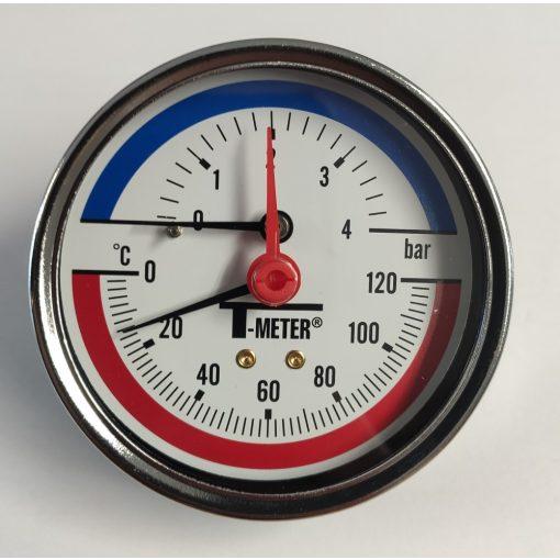 """T-METER thermo-manometer, hátsó csatlakozással, 1/2"""", 0-4 bar, átmérő 80"""